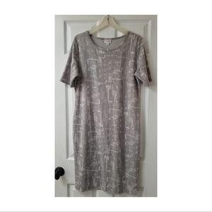 Lularoe Julia Formfit Midi Dress in Grey Print